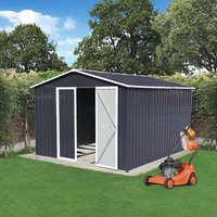 BIRCHTREE Metal Garden Shed With Free Foundation - Anthracit / 10ft X 8ft