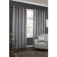 Gild Velvet Eyelet Curtains - Silver / 183cm / 168cm