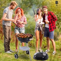 Portable Round Kettle Charcoal Grill BBQ - Black and Silver