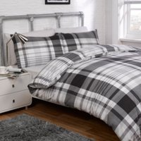 Line Check Black Printed Duvet Cover and Pillowcase Set - Black / Double