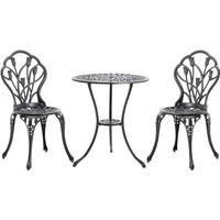 3PCS Bistro Sets Cast Aluminum Rose Design Table Chair Furniture - Black / 12kg