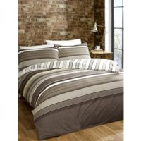 Meredith Stripe Print Duvet Cover and Pillowcase Set - Mocha / King size
