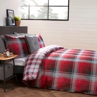 Mckinley Check Duvet Cover and Pillowcase Set - Red / King