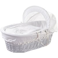 White Teddy Wicker Moses Basket with White Opal Folding Stand  - White