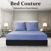 Velvet Flannel Fitted Bed Sheet King - Winter Blue