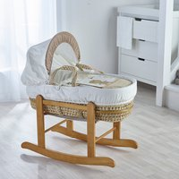 Tiny Ted Cream Moses Basket with Natural Little Gem Rocking Stand