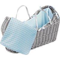 Blue Dimple Grey Pod Moses Basket - Blue
