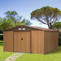 13 x 11ft Outdoor Garden Roofed Metal Storage Shed - Yellow