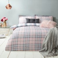 Kirk Check Duvet Cover and Pillowcase Set - Pink / King / Polyester Cotton