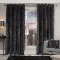 Prince Crushed Velvet Eyelet Curtains - Charcoal / 229cm / 168cm