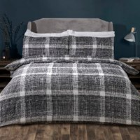 Eton Check Two Pack Duvet Cover and Pillowcase Sets - Grey / Single