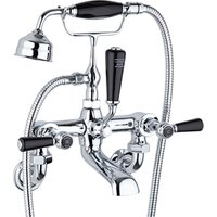 Jonas and James Bath Shower Mixer Tap Wall Mounted Lever Exposed Fixings Black - Chrome