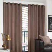 Basketweave Eyelet Curtains - Latte / 117cm / 137cm