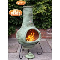 Tibor Natural Terracotta Chimenea - Green