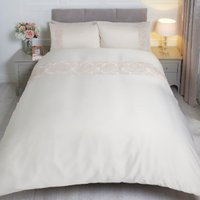 Adriana Sequin Lace Duvet Cover and Pillowcase Set - Neutral / Double