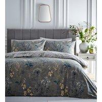Florette Duvet Cover and Pillowcase Set - Green/Ochre / Super King