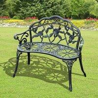 Cast Aluminium Garden Antique Rose Style Bench - Antique Green