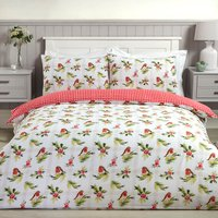 Robin and Holly Duvet Cover and Pillowcase Set - Red / King