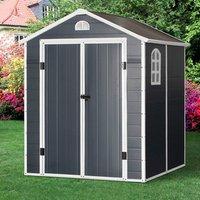 226x190cm Metal Garden Shed with 2 Doors - Grey