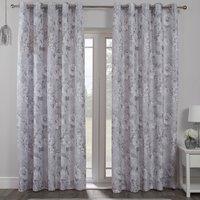 Bella Silver Eyelet Curtains - 168cm / 183cm