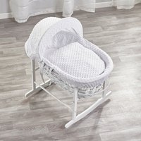 White Dimple White Wicker Moses Basket with White Rocking Stand