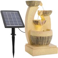 Cascading Bowls Rustic Water Fountain with Solar LED Light - Yellow