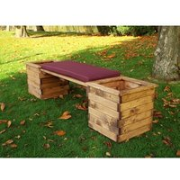 Charles Taylor Deluxe Planter Bench - Redwood/Burgundy