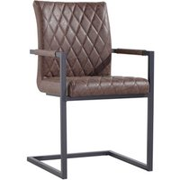 Pair of Diamond Stitch Carver Chairs With Metal Legs - Brown