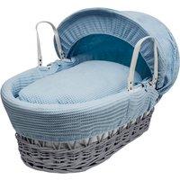 Blue Waffle Grey Wicker Moses Basket - Blue