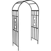 BIRCHTREE Metal Garden Rose Arch Archway  - Black