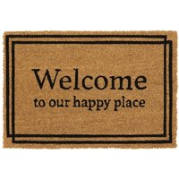 Eco Friendly Backed Coir Entrance Door Mat, Happy Place Design - Black