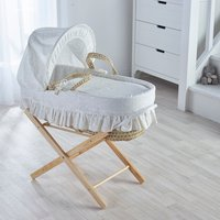Broderie Anglaise Cream Moses Basket with Natural Opal Folding Stand