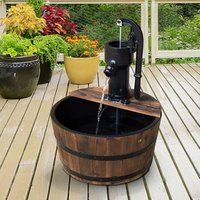 Water Pump Fountain Barrel - Brown