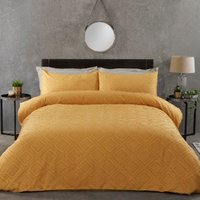 Kali Tufted Cut Out Duvet Cover and Pillowcase Set - Ochre / Double