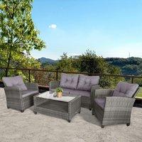 4 Piece Outdoor Furniture Wicker Chair Set - Grey