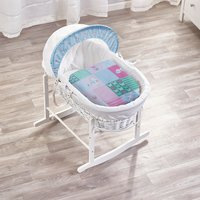 Patchwork Birds White Wicker Moses Basket with White Rocking Stand