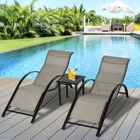 Patio Rattan 3 Pieces Lounge Chair Set  - Grey, Black