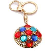 Handbag Buckle Charm 46mm Round Gold Tone Multi Crystal - Gold
