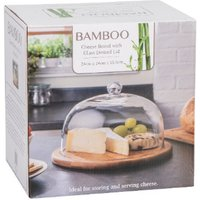 'Bamboo Cheese Board Dome With Glass Lid