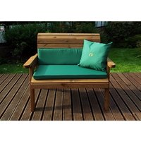 Charles Taylor Two Seater Bench Gold With Cushions - Green/Redwood