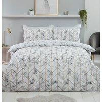 Marble Metallic Duvet Cover and Pillowcase Set - White / King