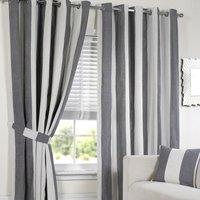 Lisbon Eyelet Stripe Curtains   - Black and White / 137cm / 168cm