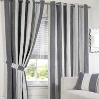 Lisbon Eyelet Stripe Curtains   - Black and White / 168cm / 137cm