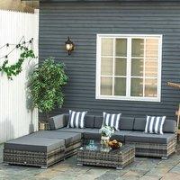 6 PCs Garden Rattan Furniture Set - Grey