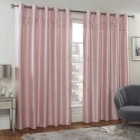 Sophia Pink Blackout Eyelet Curtains - Pink / 182cm / 168cm