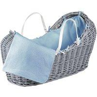 Blue Waffle Grey Pod Moses Basket - Blue