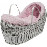 Pink Rose Swirl Grey Pod Moses Basket with Little Gem Rocking Stand  - Pink