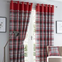 Orleans Red Eyelet Curtains - Red / 117cm / 137cm