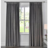 Kingsbury Velvet Touch Lined Curtains - Grey / 168cm