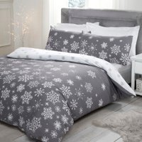 Falling Snowflakes Duvet Cover and Pillowcase Set - Grey / Super King